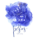 Astrology sign Pisces. On  blue watercolor background with modern lettering. Zodiac constellation with  shiny star shapes. Part of zodiacal system and ancient Royalty Free Stock Photos