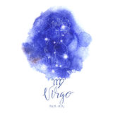 Astrology sign Virgo. On blue watercolor background with modern lettering. Zodiac constellation with  shiny star shapes. Part of zodiacal system and ancient Stock Photography