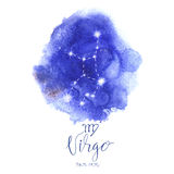 Astrology sign Virgo. On blue watercolor background with modern lettering. Zodiac constellation with  shiny star shapes. Part of zodiacal system and ancient Stock Photos