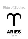 Astrology: Sign of Zodiac ARIES (The Ram). Astrology Alphabet: Sign of Zodiac ARIES (The Ram). Hieroglyphics character sign &#x28 Stock Photos