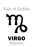 Astrology: Sign of Zodiac VIRGO (The Maiden). Astrology Alphabet: Sign of Zodiac VIRGO (The Maiden). Hieroglyphics character sign &#x28 stock photography