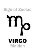 Astrology: Sign of Zodiac VIRGO (The Maiden). Astrology Alphabet: Sign of Zodiac VIRGO (The Maiden). Hieroglyphics character sign &#x28 royalty free stock photos