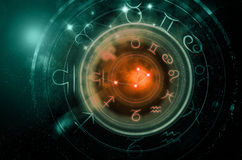 Astrology signs on dark space background royalty free stock photography