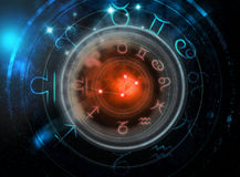 Astrology signs on dark space background Royalty Free Stock Photos