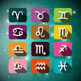 Astrology Signs on Night Sky with Stars. Vector Astrological Illustration Stock Illustration