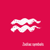 Astrology Signs of the zodiac Aquarius. Signs of the zodiac. Aquarius symbol calligraphy. Fashion illustration style. Vector illustration white  on a pink Stock Photography