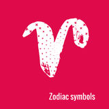 Astrology Signs of the zodiac Aries. Signs of the zodiac. Aries symbol calligraphy. Fashion illustration style. Vector illustration white  on a pink background Royalty Free Stock Image