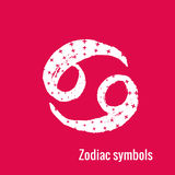 Astrology Signs of the zodiac Cancer. Signs of the zodiac. Cancer symbol calligraphy. Fashion illustration style. Vector illustration white isolated on a pink Stock Photo