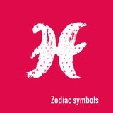 Astrology Signs of the zodiac Gemini. Signs of the zodiac. Gemini symbol calligraphy. Fashion illustration style. Vector illustration white isolated on a pink Royalty Free Stock Image
