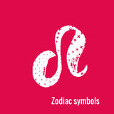 Astrology Signs of the zodiac Leo. Signs of the zodiac. Leo symbol calligraphy. Fashion illustration style. Vector illustration white  on a pink background Royalty Free Stock Photos