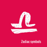 Astrology Signs of the zodiac Libra. Signs of the zodiac. Libra symbol calligraphy. Fashion illustration style. Vector illustration white  on a pink background Stock Photo