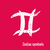 Astrology Signs of the zodiac Pisces. Signs of the zodiac. Pisces symbol calligraphy. Fashion illustration style. Vector illustration white isolated on a pink Royalty Free Stock Photos