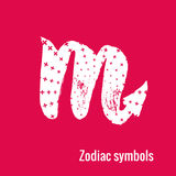 Astrology Signs of the zodiac Scorpio. Signs of the zodiac. Scorpio symbol calligraphy. Fashion illustration style. Vector illustration white isolated on a pink Royalty Free Stock Images