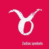 Astrology Signs of the zodiac Taurus. Signs of the zodiac. Taurus symbol calligraphy. Fashion illustration style. Vector illustration white  on a pink background Stock Image