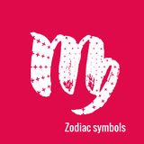 Astrology Signs of the zodiac Virgo. Signs of the zodiac. Virgo symbol calligraphy. Fashion illustration style. Vector illustration white isolated on a pink Royalty Free Stock Image