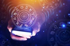 Astrology smartphone app concept. Woman using mobile phone, close up of hands vector illustration