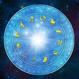 Zodiac signs on horoscope with esoteric, occult, mystic symbols like astrology and esoteric concept stock illustration