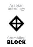 Astrology: Stumbling BLOCK (Stone). Astrology Alphabet: stumbling BLOCK (Stone), Arabian point of horoscope. Hieroglyphics character sign &# Royalty Free Stock Photo