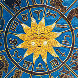Astrology sun. Zodiac signs in circle with golden sun Royalty Free Stock Photo