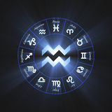 Astrology symbol Aquarius flare Royalty Free Stock Image