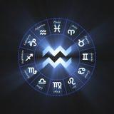 Astrology symbol Aquarius light flare Royalty Free Stock Image