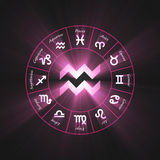 Astrology symbol Aquarius light flare Royalty Free Stock Images