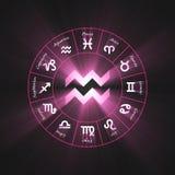 Astrology symbol Aquarius light flare. 12 zodiac symbols wheel set shining blue light halo. Glowing horoscope sign Royalty Free Stock Images