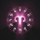 Astrology symbol Aries light flare Stock Image