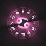 Astrology symbol Cancer light flare. 12 zodiac symbols wheel set shining blue light halo. Glowing horoscope sign Royalty Free Stock Photography