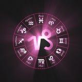 Astrology symbol Capricorn light flare. 12 zodiac symbols wheel set shining blue light halo. Glowing horoscope sign Royalty Free Stock Photo
