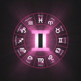 Astrology symbol Gemini light flare Stock Photography