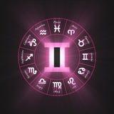 Astrology symbol Gemini light flare. 12 zodiac symbols wheel set shining blue light halo. Glowing horoscope sign Stock Photography