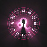 Astrology symbol Leo light flare Royalty Free Stock Photo