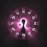 Astrology symbol Leo light flare. 12 zodiac symbols wheel set shining blue light halo. Glowing horoscope sign Royalty Free Stock Photo