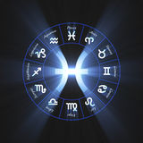 Astrology symbol Pisces shine light flare Royalty Free Stock Images