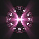 Astrology symbol Pisces light flare. 12 zodiac symbols wheel set shining blue light halo. Glowing horoscope sign Royalty Free Stock Photos