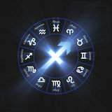 Astrology symbol Sagittarius shine light flare Stock Photo