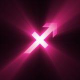 Astrology symbol Sagittarius light flare Stock Image