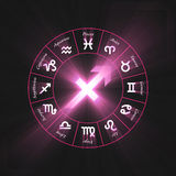 Astrology symbol Sagittarius light flare Royalty Free Stock Image