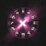 Astrology symbol Sagittarius light flare. 12 zodiac symbols wheel set shining blue light halo. Glowing horoscope sign Royalty Free Stock Image