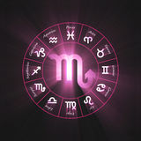 Astrology symbol Scorpio light flare Stock Image