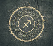 Astrology symbols in circle. Archer sign Royalty Free Stock Images