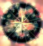 Astrology symbols circle on blurred colorful background