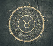 Astrology symbols in circle. Bull sign Royalty Free Stock Photo