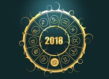 Astrology symbols in circle. Cancer sign. Astrological symbols in the circle. Cancer sign. Celebration card template. Zodiac circle with 2018 new year number. 3D Stock Image