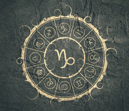 Astrology symbols in circle. Capricorn sign Stock Images