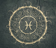 Astrology symbols in circle. Fish sign Royalty Free Stock Image