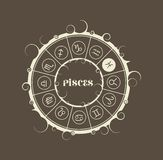 Astrology symbols in circle. Fish sign Royalty Free Stock Photography