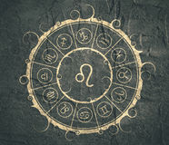Astrology symbols in circle. Lion sign Royalty Free Stock Image