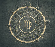 Astrology symbols in circle. Maiden sign Royalty Free Stock Photography